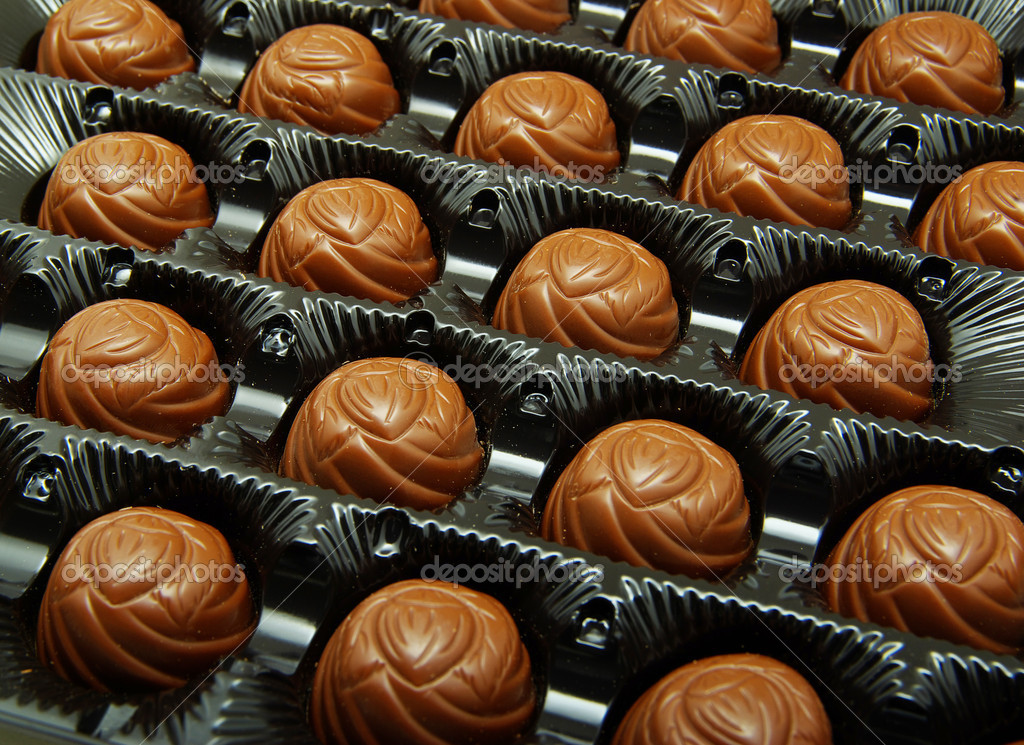 Delicious chocolate truffles in box  Stock Photo #7546991