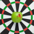 Dart hit right in the centre of target — Stock Photo