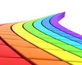 Abstrakt rainbow-färgade road i perspektiv — Stockfoto