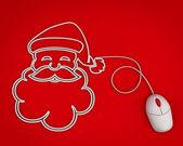 Sonriendo santa representado con un cable del ratón de la computadora sobre rojo — Foto de Stock