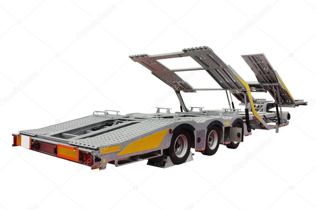 The image of uncoupled automobile transporter semi-trailer under the white background — Stock Photo #6817953