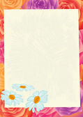 Sheet of paper on a flower background. — Stock Photo
