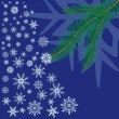 Royalty-Free Stock Vector Image: Spruce branch with snowflakes on blue background.