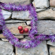 Christmas Decorations on Masonry Construction — Stock Photo #6880450