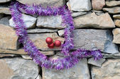 Christmas Decorations on Masonry Construction — Stock Photo