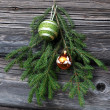 Christmas Tree Twig and Decorations - Stock Photo