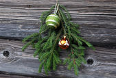 Christmas Tree Twig and Decorations — Stock Photo