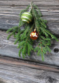 Christmas Tree Twig and Ornaments — Stock fotografie