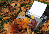 Old Typewriter and Fallen Maple Leaves — Stock Photo