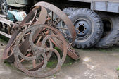 Old Truck and Cart Wheels — Stock Photo