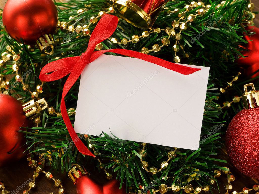 Gift card and christmas ornaments. Shallow dof. — Stockfoto #6876067