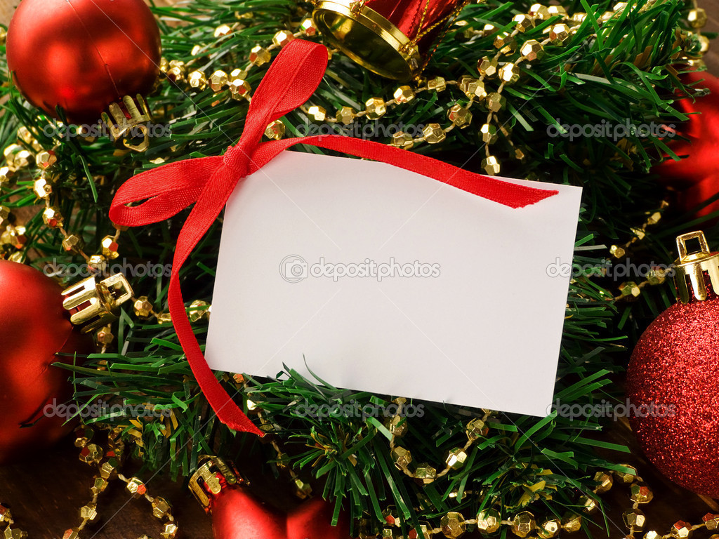 Gift card and christmas ornaments. Shallow dof.  Photo #6876067