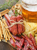 Beer and snacks — Stock Photo
