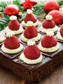 Santa hat brownies — Stock Photo