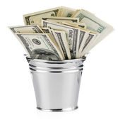 Isolated bucket of US banknotes — Stock Photo