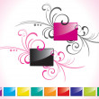 Black and pink glossy rectangles set — Stock Vector