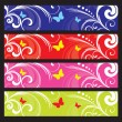 Floral Backgrounds Satz — Stockvektor