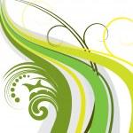 ola verde floral — Vector de stock