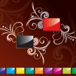 Red and black glossy rectangle set - Stock Vector