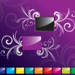 Purple and grey glossy rectangle set - Stock Vector