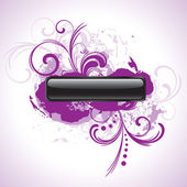 Black button with purple floral elements — Stock Vector