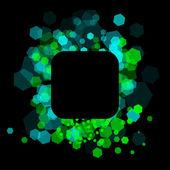 Blauwe en groene cellen op zwarte achtergrond — Stok Vektör
