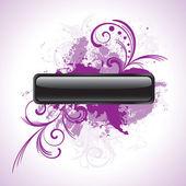 черная кнопка с фиолетовый цветочные орнаменты — Cтоковый вектор