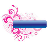 Blue button with pink floral elements — Stock Vector
