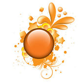 Colorful grunge orange button — Stock Vector