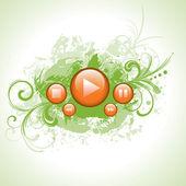 Orange media control buttons set — Stock Vector