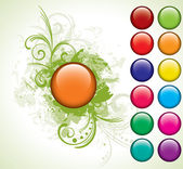 Orange button with floral background set — Stock Vector