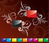 Red and black glossy rectangle set — Stock Vector