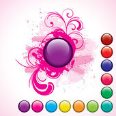 Purple button with grunge background set — Stock Vector