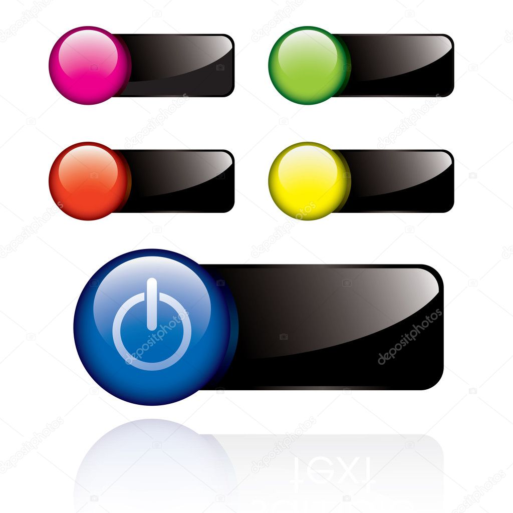 Glossy power buttons in different colors — Stock Vector #6927690