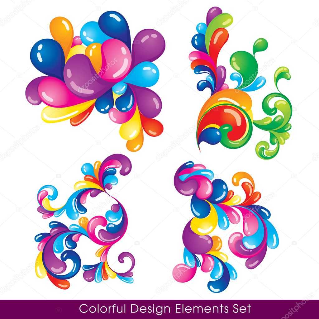 Colorful design elements set — Imagen vectorial #6957302