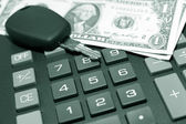 Calculator, momey and car key — Stock Photo