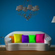 Stock Photo: Blue room with white couch and luxurious chandelier