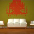 White couch and two chairs with silhouette of chandelier in green interior — Stock Photo