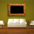 White couch and two chairs with modern frame in green interior — Stock Photo