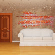 Living room with door and white couch and splash hole — Stock Photo