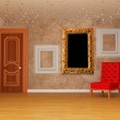 Empty room with door, red chair and three picture frames — Stock Photo