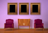 Two luxurious chairs with wooden console and picture frames in purple interior — Stock Photo