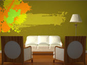 Two luxurious chairs opposite green wall with couch, stand lamp and splash frame — 图库照片