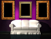 White sofa with purple part of the wall and picture frames in minimalist interior — Stock Photo