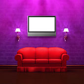 Lcd tv in purple minimalist interior with Red couch and sconces — Stock Photo