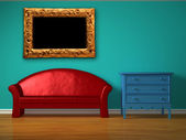 Red sofa with blue bedside table and golden picture frame in kids room — Stock Photo