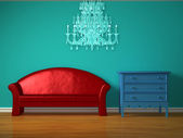 Red sofa with blue bedside and luxurious chandelier table in kids room — Stock Photo