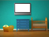 Baby bedroom with a crib and lcd tv — Stock Photo