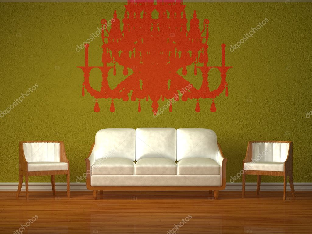 White couch and two chairs with silhouette of chandelier in green interior  — Stock Photo #6964763