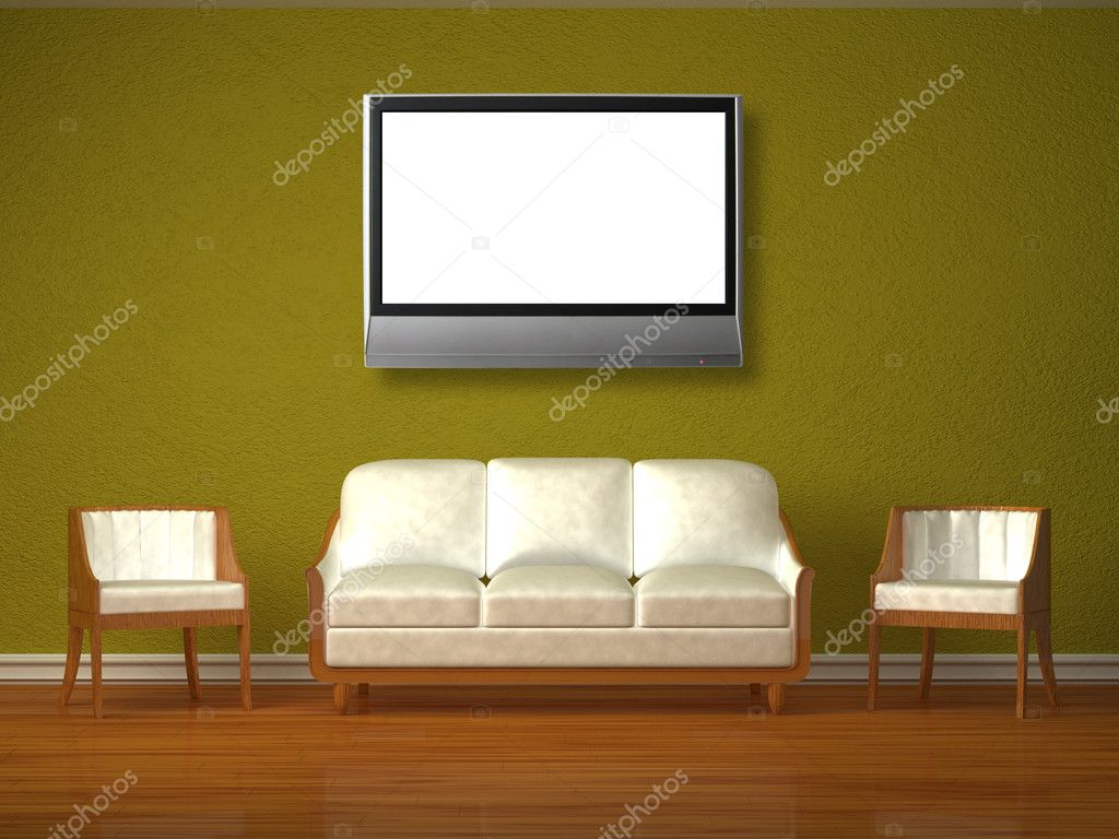 White couch and two chairs with lcd tv in green interior   Stock Photo #6964775